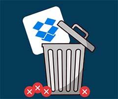Conta Dropbox sendo apagada no lixo