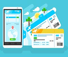 Celular com aplicativos de viajem instalados