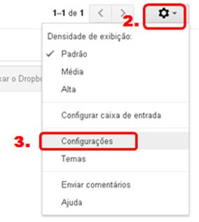 Painel para configurar assinatura de email Gmail