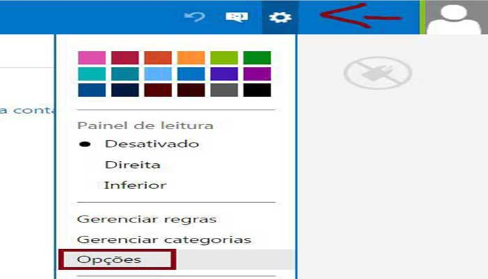 Tela para configurar assinatura de email outlook / hotmail