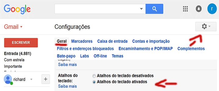 Página para habilitar os atalhos de teclado do Gmail