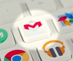 Imagem com atalhos Gmail em um teclado
