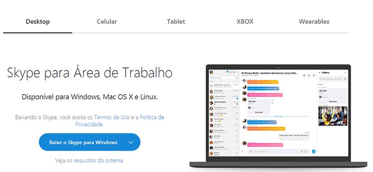 Homepage da Microsoft para Baixar o Skype