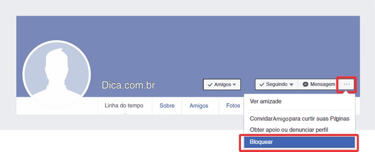 Como bloquear alguém no Facebook passo 1
