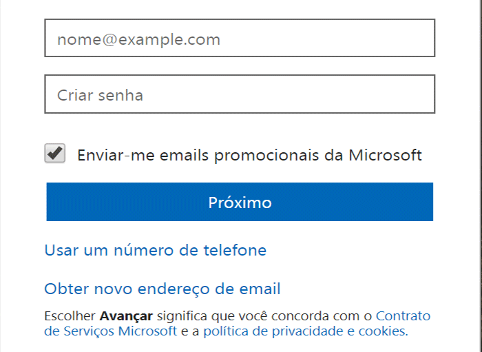 Cadastrar Microsoft