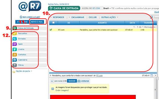 caixa de entrada do email r7
