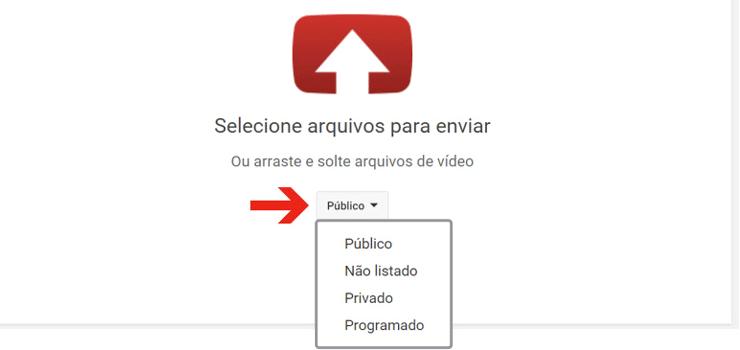 Carregar vídeo no Youtube