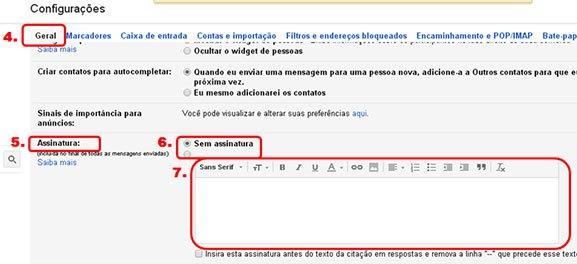 Campo para colocar assinatura de email no Gmail