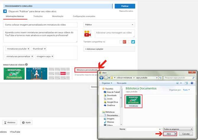 Colocar miniatura personalizada vídeo Youtube
