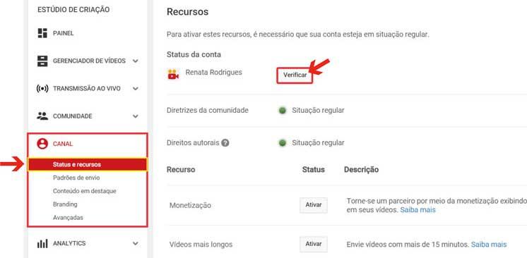 Como ativar recursos adicionais Youtube