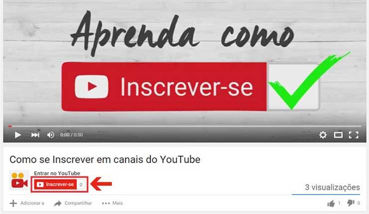 Inscrever canal Youtube computador