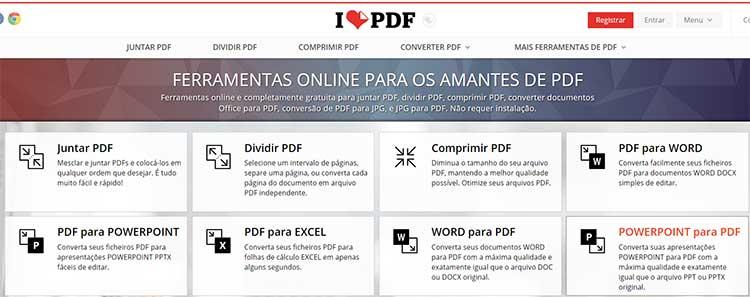 Comprimir PDF Site Ilovepdf.com