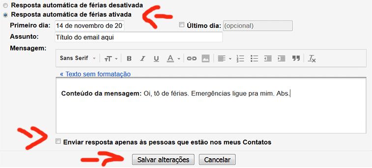Tela para configurar resposta automática Gmail