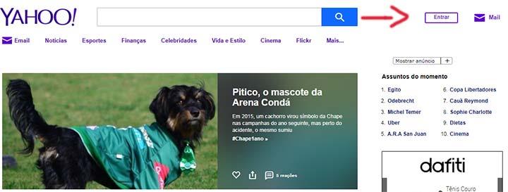 Página inicial para criar conta Yahoo