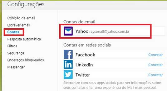 Painel com as contas de email Yahoo Mail