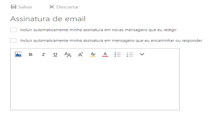 Página com a ferramenta para criar assinatura de email outlook
