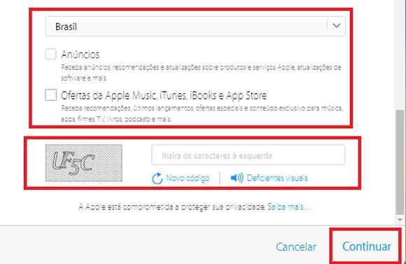 criar conta icloud brasil