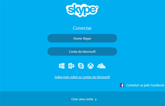 Tela de login do Skype