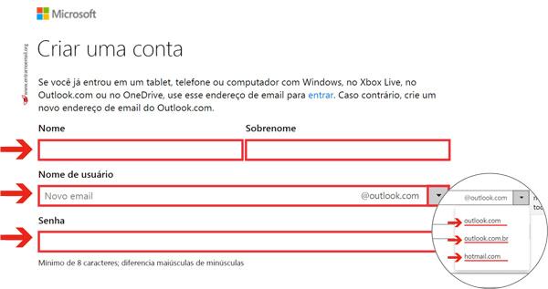 Criar email Hotmail cadastro