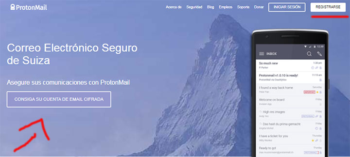 Homepage do email Protonmail