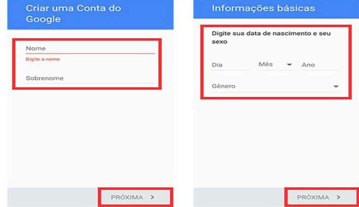Tela criar gmail celular dados