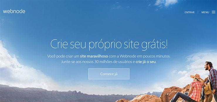 Criar site grátis com hospedagem grátis Webnode