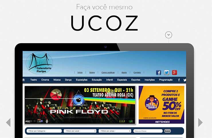Criar site profissional com Hospedagem grátis Ucoz