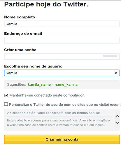 Página onde Criar Twitter com nome de usuário