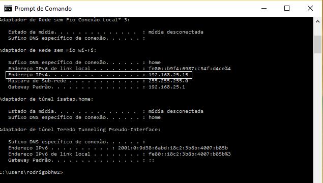 Tela Ipconfig para descobrir endereço ip