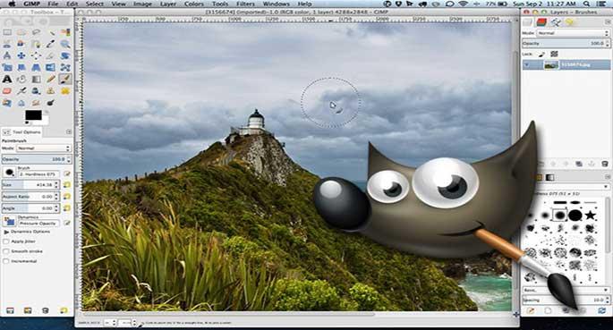 Programa editor de foto Gimp tela edição