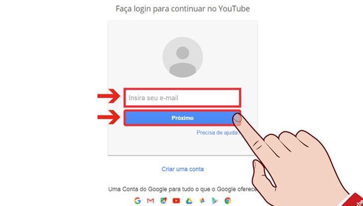 Formulário entrar conta Youtube
