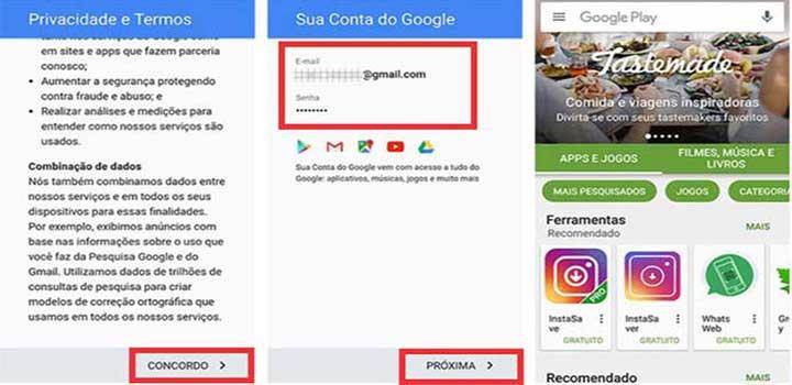 Tela email google no smartphone