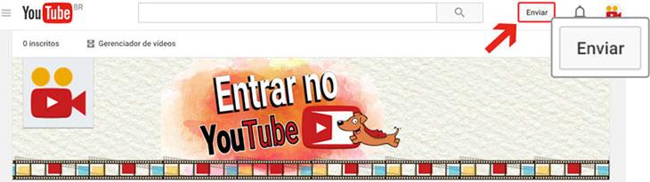 Enviar vídeo para o Youtube passo 1