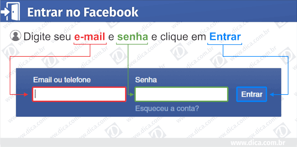 Formulário Facebook entrar login