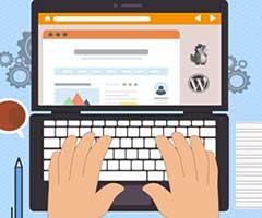 Imagem computador com blog Wordpress sendo criado