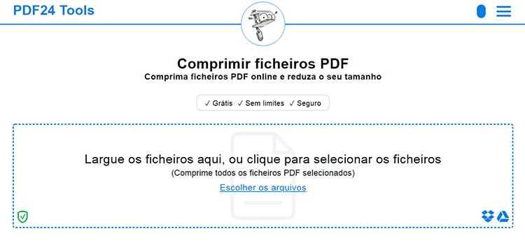Ferramenta para comprimir PDF online