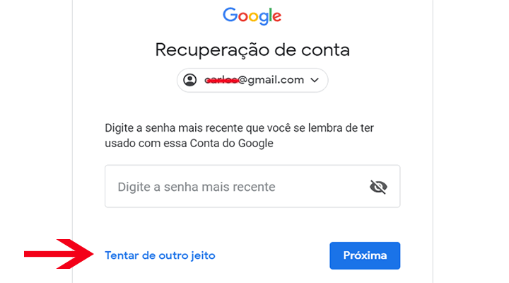 Formas de recuperar senha Gmail