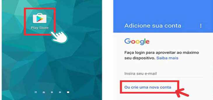 Tela do Gmail criar conta celular