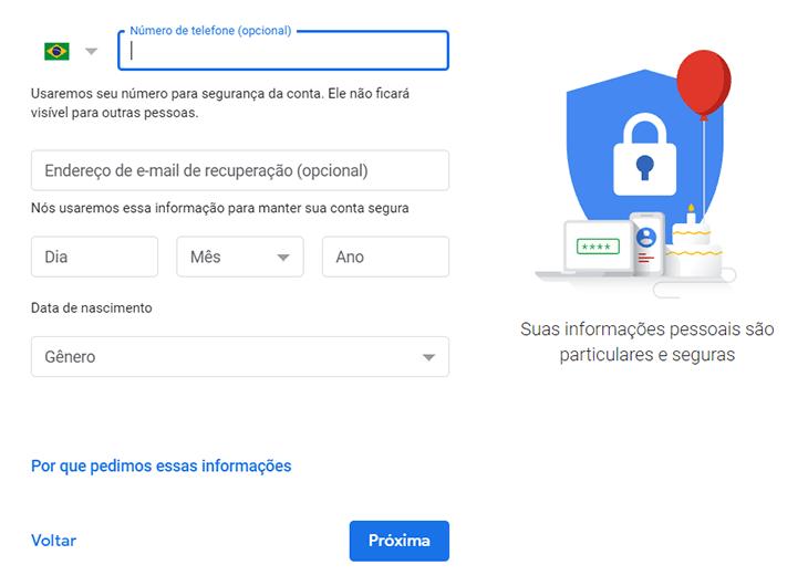 Gmail Criar Telefone Recuperar conta