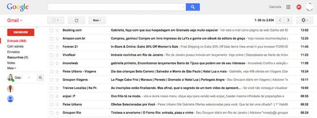 Caixa de entrada do Gmail melhor email grátis