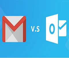 Logo do Gmail vs Outlook.com email