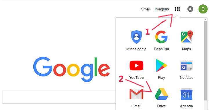 Página inicial para baixar o Google Drive