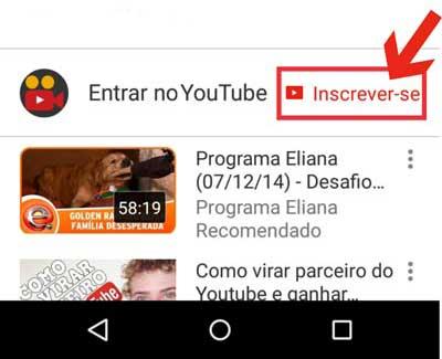 Inscrever canal Youtube celular