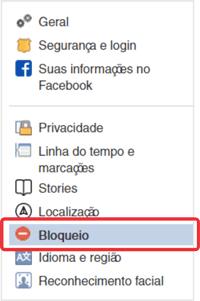Menu para bloquear alguém no Facebook