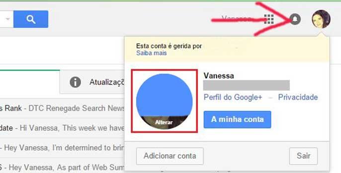 Página para mudar foto de perfil do Gmail email