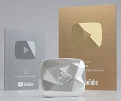 Novas placas do youtube icone ouro prata