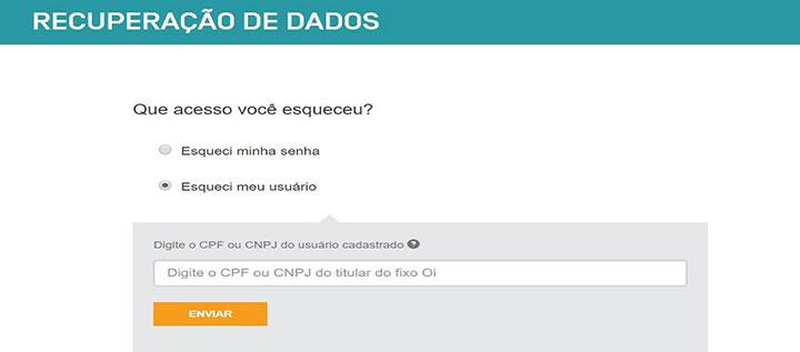 Imagem do formulário de recuperação de conta do Oi mail