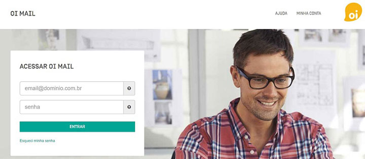 Foto da Página de login do Oi Mail com um homem ao fundo