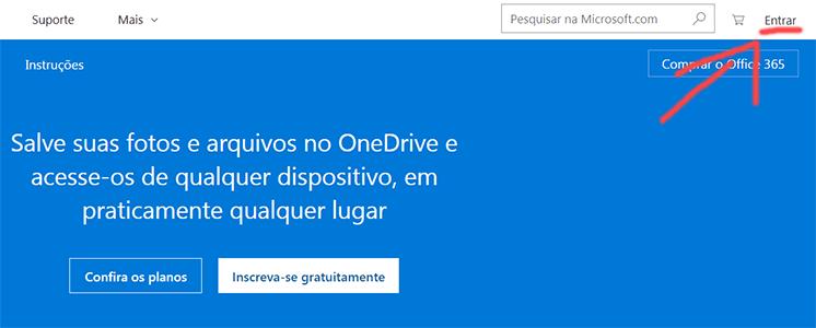 Homepage do Onedrive microsoft