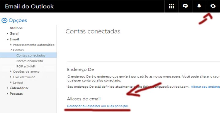 Tela configurar alias outlook.com